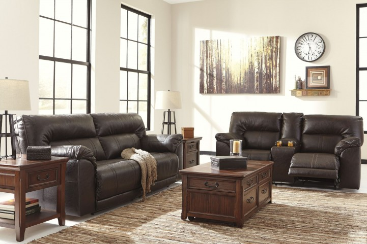 Barrettsville DuraBlend Chocolate Reclining Living Room Set
