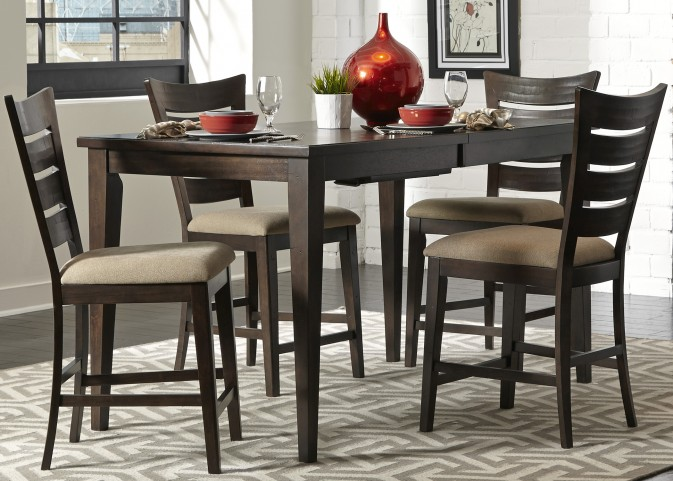 Pebble Creek II Weathered Tobacco Gathering Extendable Dining Room Set