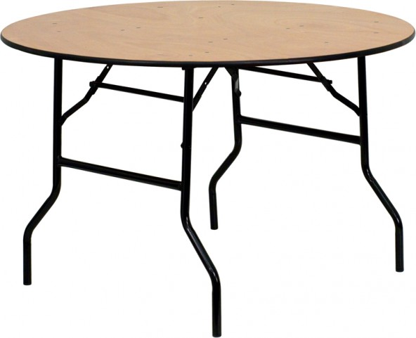"48"" Round Wood Folding Clear Coated Banquet Table"