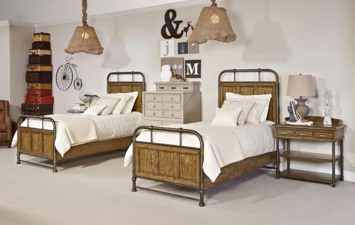New Vintage Brown Youth Metal/Wood Bedstead Bedroom Set