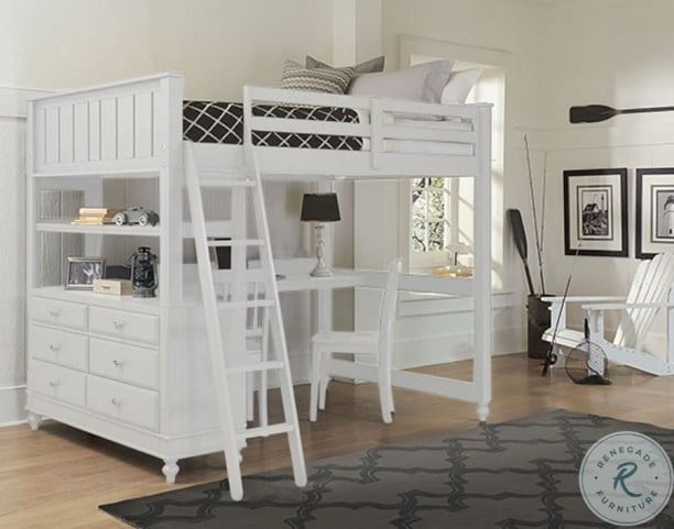 Lake House White Youth Loft Bedroom Set With Desk From Ne Kids Coleman Furniture