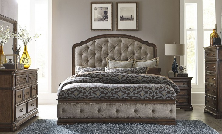 Amelia Antique Toffee Upholstered Mansion Bedroom Set