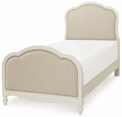 Harmony Antique Linen White Twin Victoria Upholstered Panel Bed