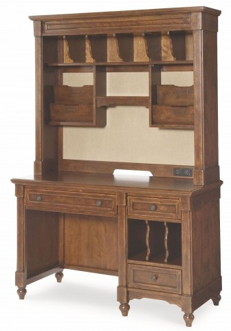 Big Sur Saddle Brown 3 Drawer Desk with Hutch