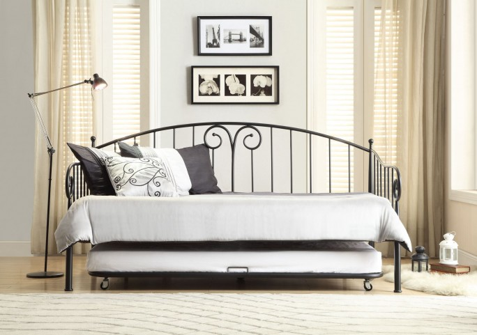 Ruby Black Metal Daybed With Trundle