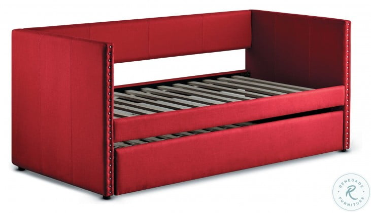 Therese Red Twin Daybed with Trundle
