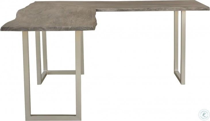 Waverly Sandblasted Gray Live Edge L Desk
