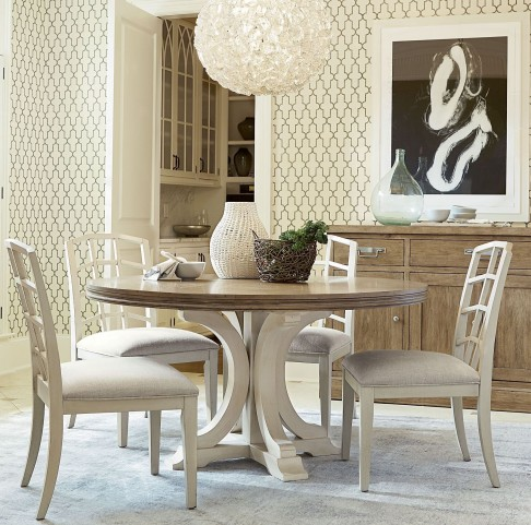 Moderne Muse Canvas And Bisque Round Dining Room Set