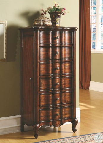 Mahogany 5 Drawer French Jewelry Armoire