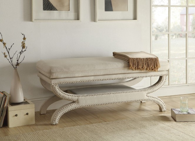 500004 White Upholstery Bench