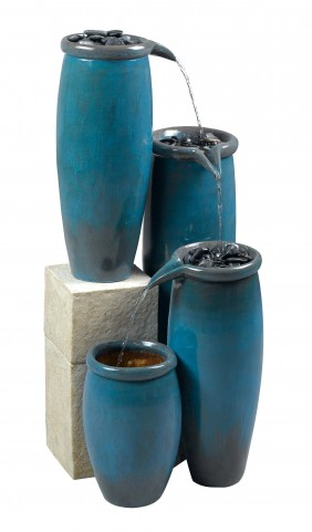 Agua Blue Glaze Indoor/Outdoor Floor Fountain