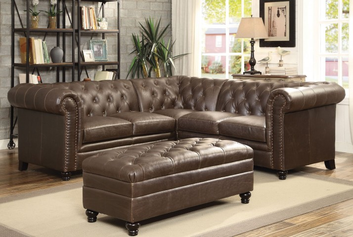 Roy Brown Bonded Leather Match Sectional