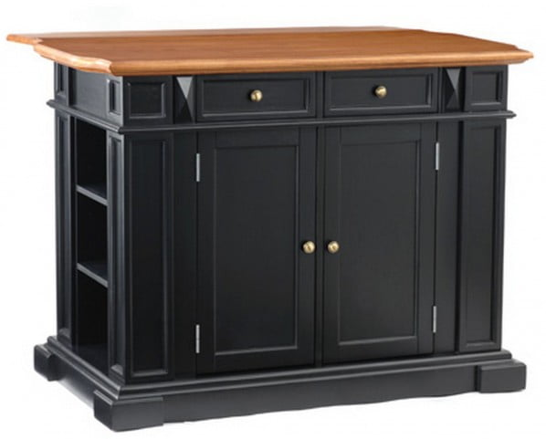 Americana Black And Distressed Oak Kitchen Island