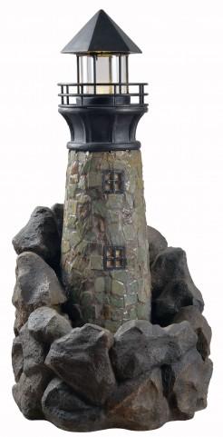 Lighthouse Wood Grain Outdoor Floor Fountain