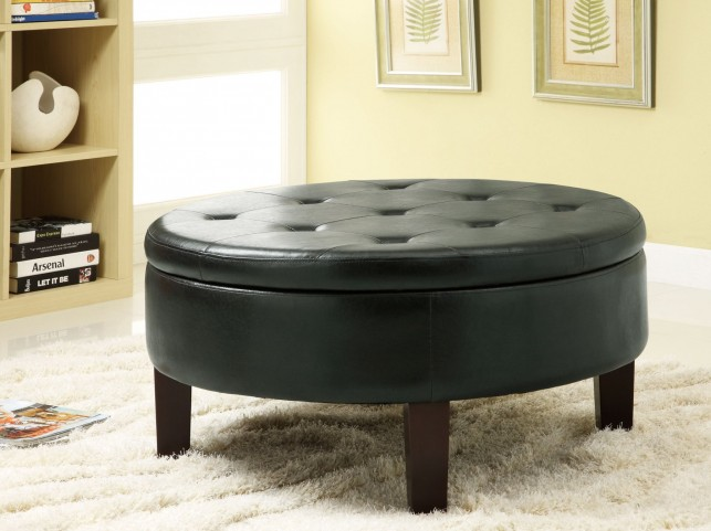 Black Storage Ottoman - 501010