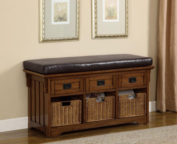 Oak Bench With Baskets/Drawers 501061