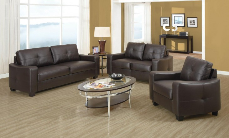 Jasmine Brown Bonded Leather Living Room Set