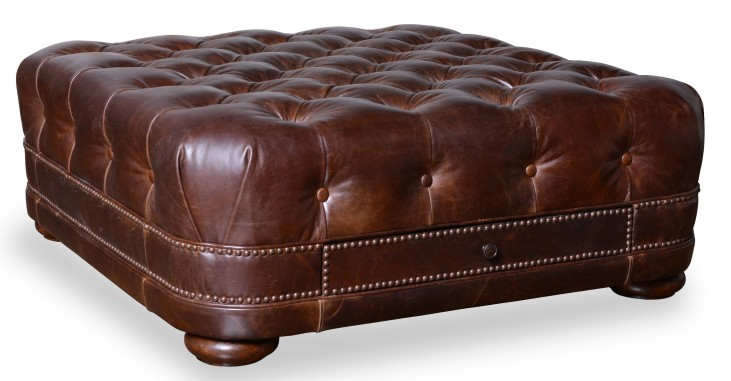 Kennedy Walnut Leather Cocktail Ottoman with 2 D