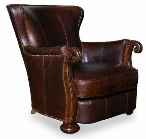 Kennedy Walnut Leather Lounge Chair with Wood Arms