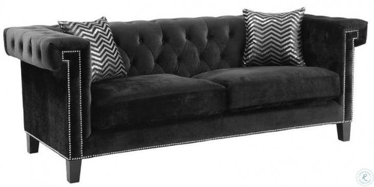 Reventlow Black Velvet Living Room Set
