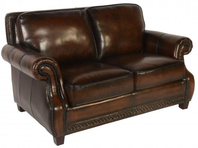 Prato Black & Tan Leather Loveseat