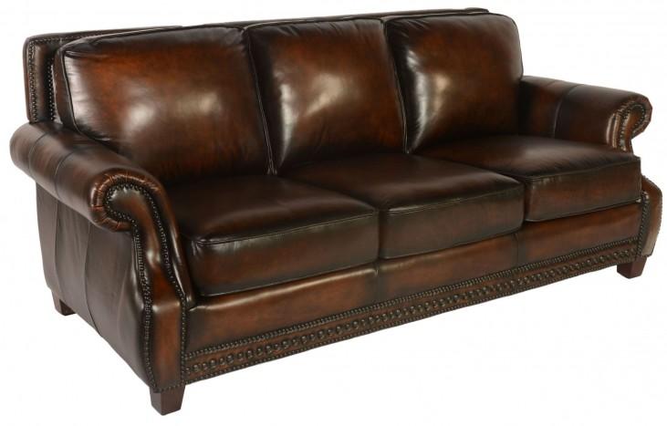 Prato Black & Tan Leather Sofa