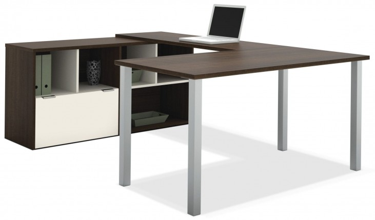 Contempo Tuxedo & Sandstone U-Shaped Desk Fully reversible