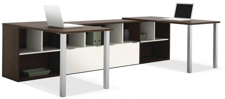 Contempo Tuxedo & Sandstone Two L-Shaped Desks Set Metal legs