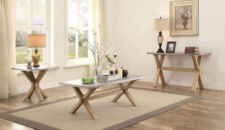 Luella Cool weathered oak Zinc Top Occasional Table Set
