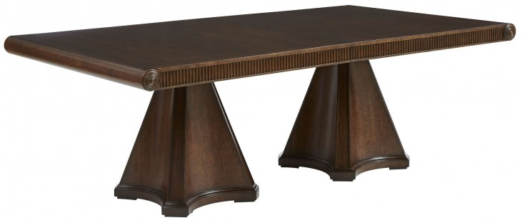 Villa Couture Mottled Walnut Dante Extendable Double Pedestal Dining Table