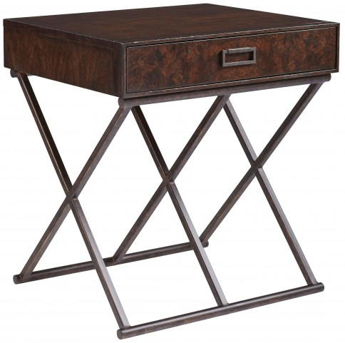 Villa Couture Mottled Walnut Rocco End Table