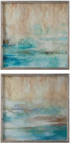 Through The Mist Abstract Art Set of 2