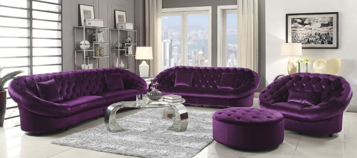 Romanus Purple Velvet Living Room Set