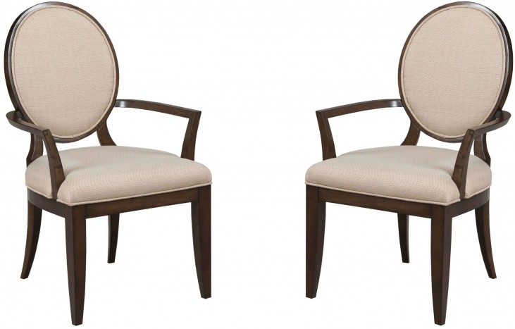 Grantham Hall Deep Coffee Decorative Upholstered Arm Chair Set of 2