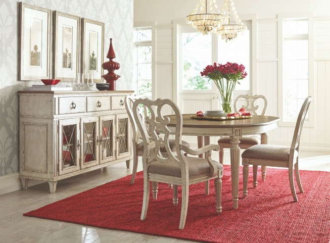 Southbury Fossil and Parchment Extendable Round Dining Room Set