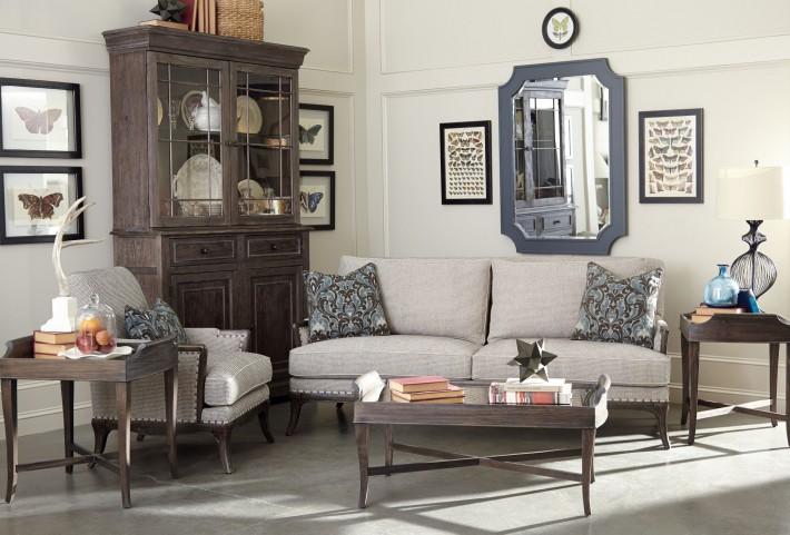 St Germain Siene Pewter Upholstered Living Room Set