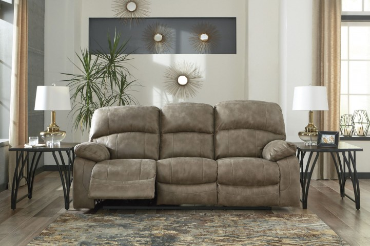Dunwell Driftwood Power Reclining Sofa With Adjustable Headrest From