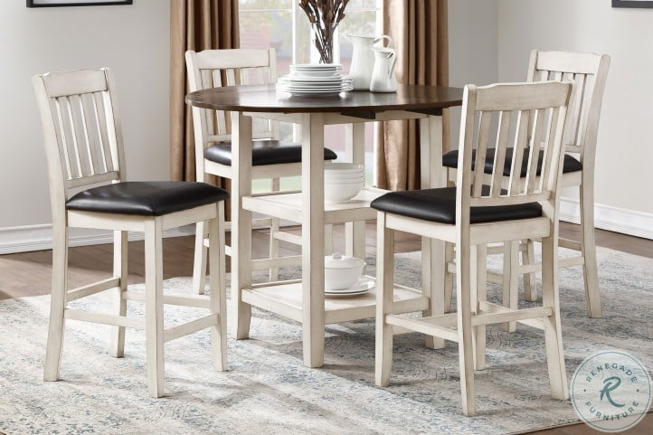 White Wash And Dark Cherry Counter Hight Extendable Dining Room Set