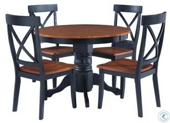 Bishop Black and Cottage Oak Round Pedestal Dining Table