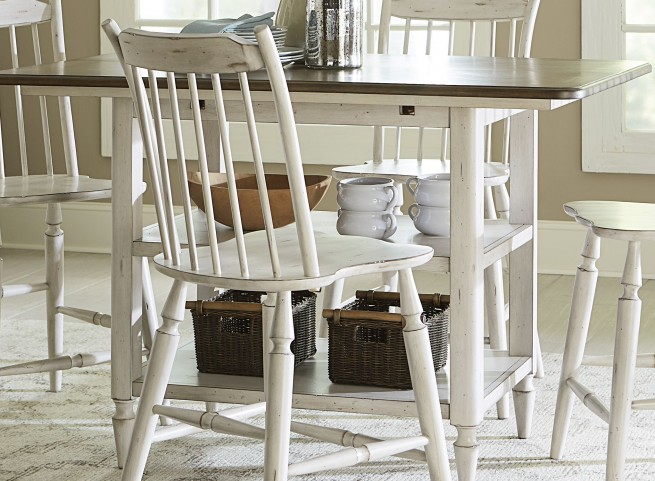 Oak Hill Gray and Brown Center Island Table