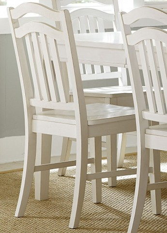 Summerhill Rubbed Linen White Slat Back Side Chair Set of 2