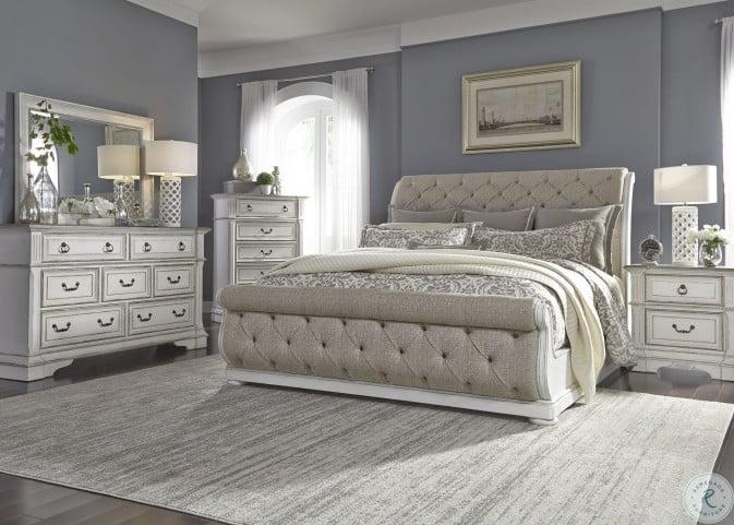 Abbey Park Antique White Upholstered Sleigh Bedroom Set