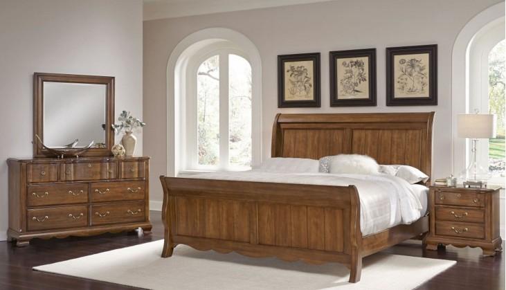 Villa Sophia Antique Cherry Low Profile Sleigh Bedroom Set