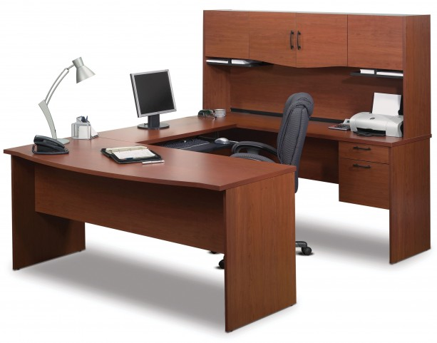 Harmony Bordeaux & Charcoal U-Shaped Workstation