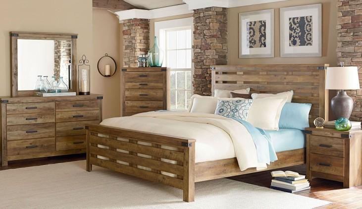 Montana Rustic Buckskin Panel Bedroom Set