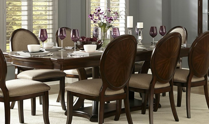 Delavan Rich Brown Cherry Extendable Dining Table