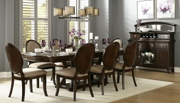 Delavan Rich Brown Cherry Extendable Dining Room Set