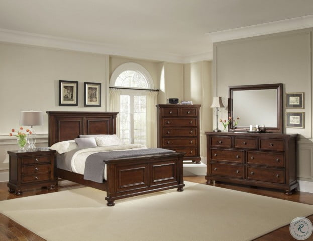 Reflections Dark Cherry Cal King Mansion Bed From Vaughn