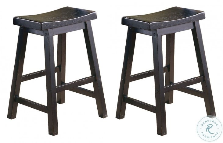 "Saddleback Black 24"" Counter Height Stool Set of 2"
