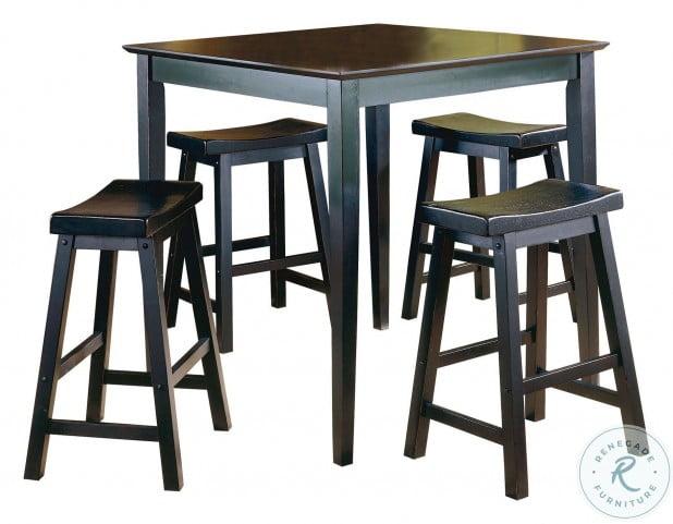 Saddleback Black 5 Piece Counter Height Dining Set